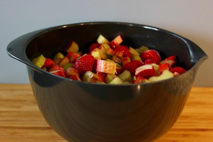jordbær og rabarbra