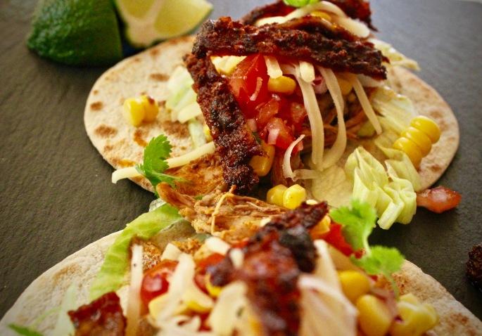 pulled kylling taco nærbilde