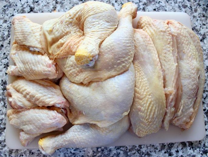 rå kylling delt