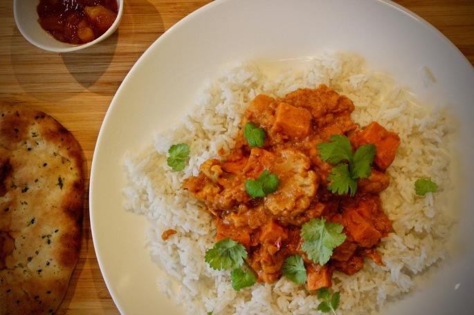 søtpotet blomkål curry ovenfra