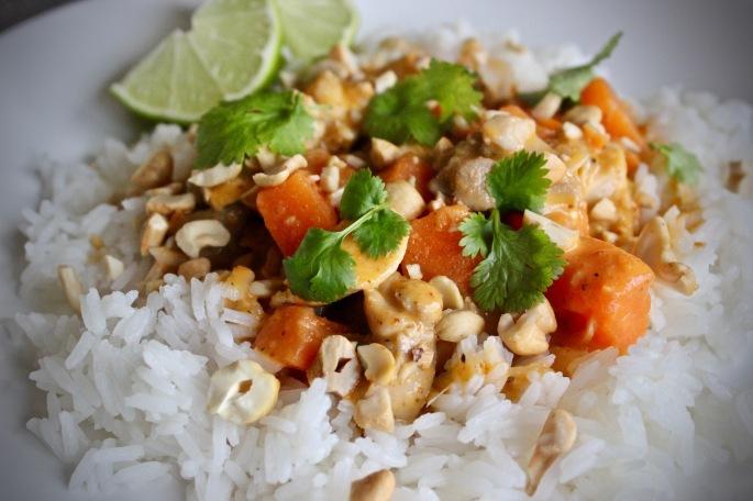 thaicurry med kylling og søtpotet nærbilde