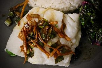 dampet torsk med ingefær og vårløksaus 2
