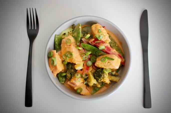 thai rød curry laksepanne